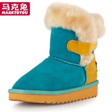 马克兔童鞋女大童雪地靴防水中筒儿童雪地靴男童女童